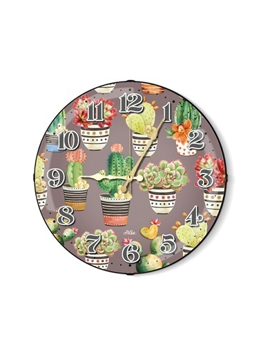 The Mia Duvar Saati - Cactus B 35 Cm Renkli